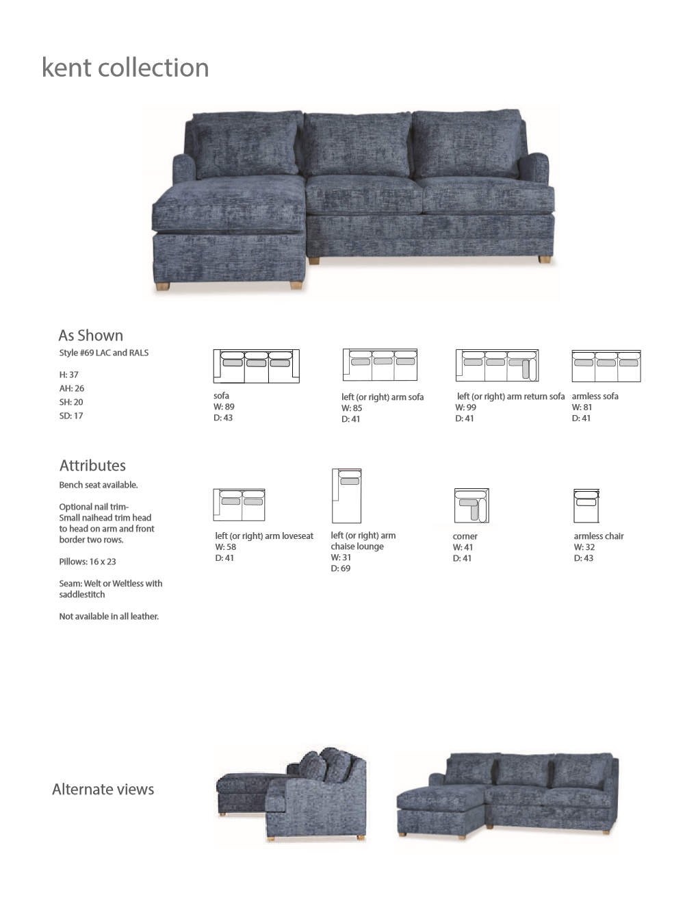 69 KENT SECTIONAL